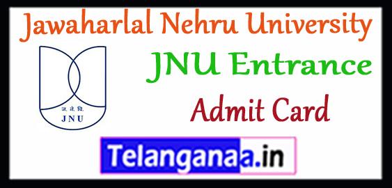 JNU Jawaharlal Nehru University Entrance Admit Card 2018-19
