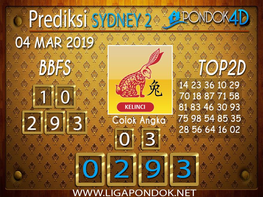 Prediksi Togel SYDNEY2 PONDOK4D 04 MARET 2019