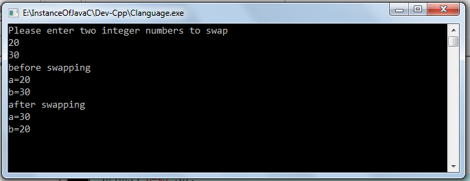 swap without third variable c program