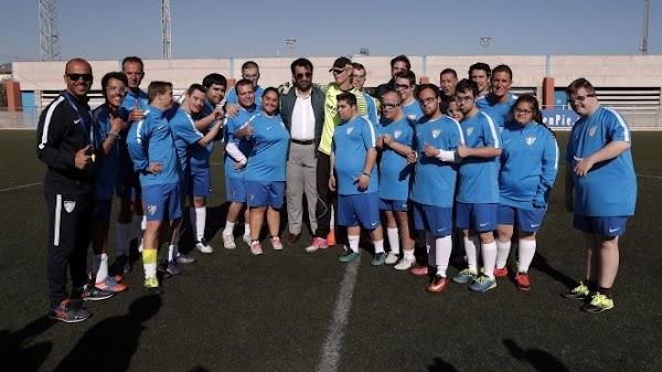 Al Thani visita el entrenamiento del Málaga Genuine