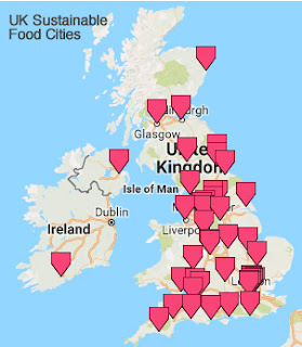 map of UK Sustainable Food Cities Network