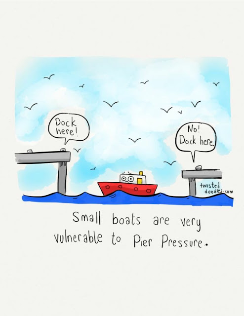 Small boats are very vulnerable to pier pressure funny pun cartoon