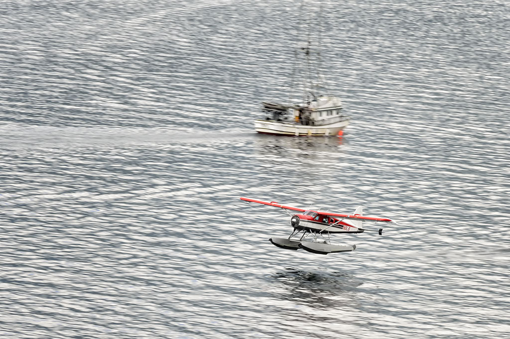 Float Plane takes off from Ketchikan Harbor