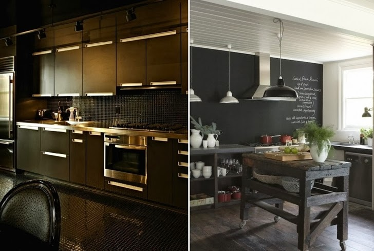 Two completely black kitchens