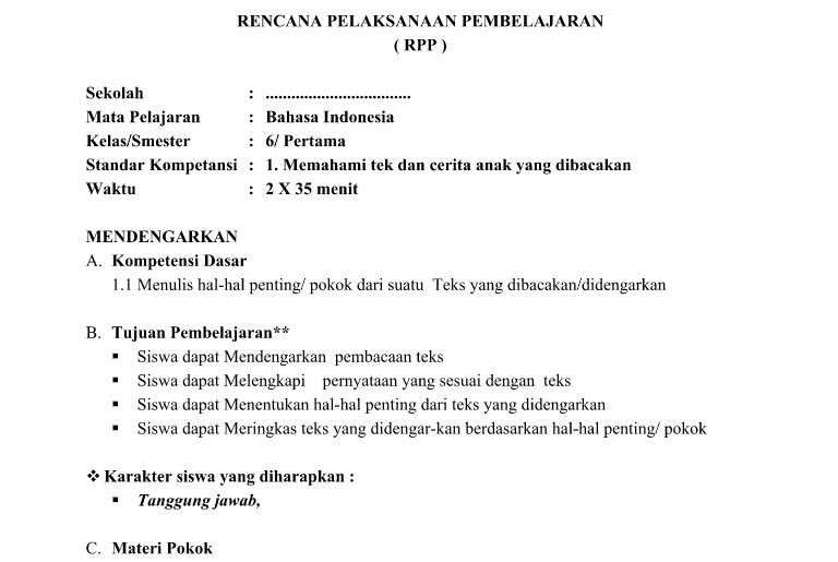 RPP Silabus Program Tahunan dan Program Semester KKM SK dan KD Kelas 6 SD Mapel Bahasa Indonesia berkas MS Word