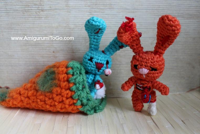 Tiny Zombie Bunny With Rotting Carrot Pouch Amigurumi To Go