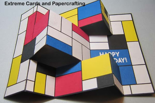 front view of Mondrian tri-shutter card with vinyl sentiment
