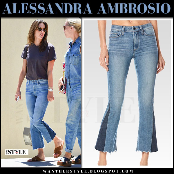 Alessandra Ambrosio in cropped flared jeans paige denim colette and black t-shirt what she wore june 14 2017