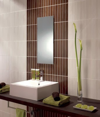 azulejos baño marrón