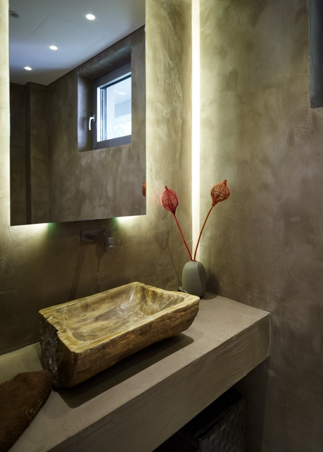 Stone sink in the bathroom