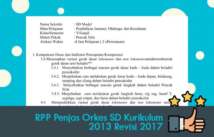 RPP Penjas Orkes SD Kurikulum 2013 Revisi 2017