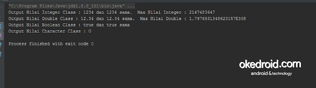 Output Hasil Contoh Program Pengertian Class Wrapper Class adalah  dalam Java