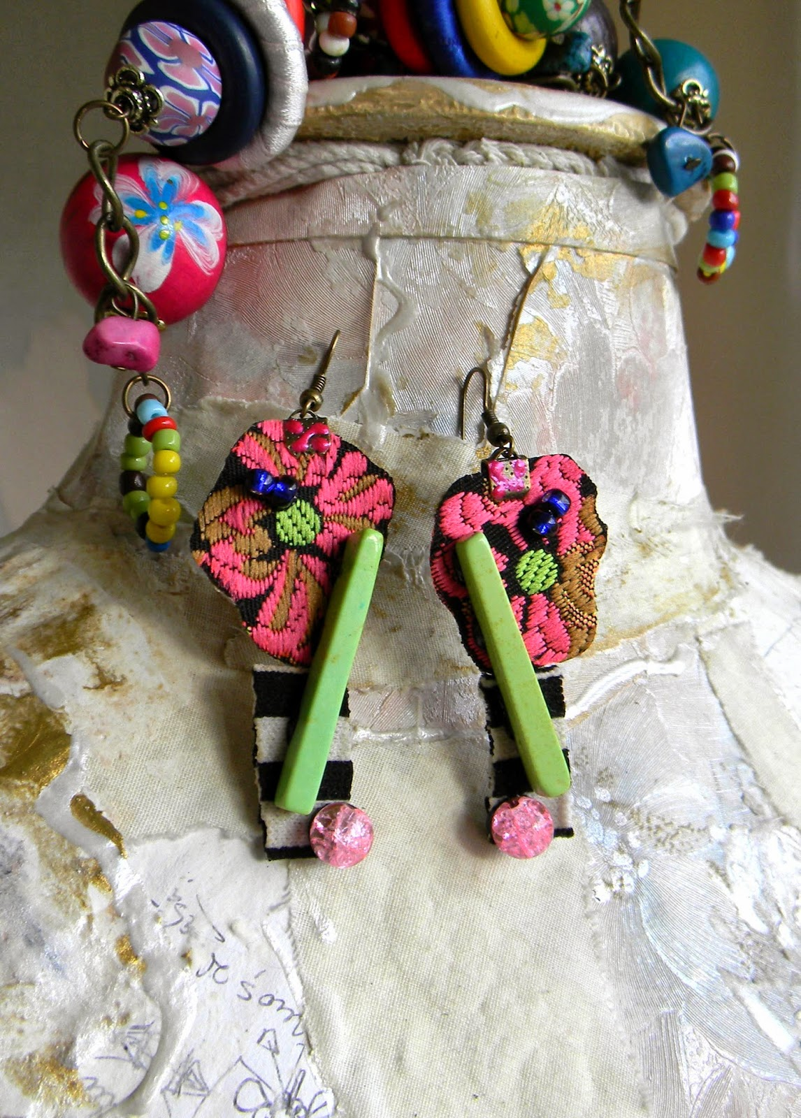 Gypsy Folkloric Earrings Fancy Ethnic Textile Earrings