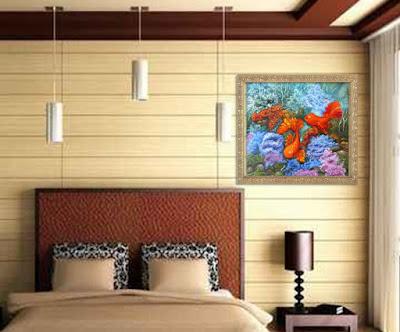 Картина талисман по фен шуй Золотые рыбки