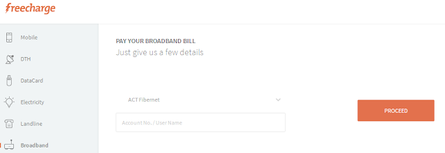 Freecharge ACT Bill Payment Offers