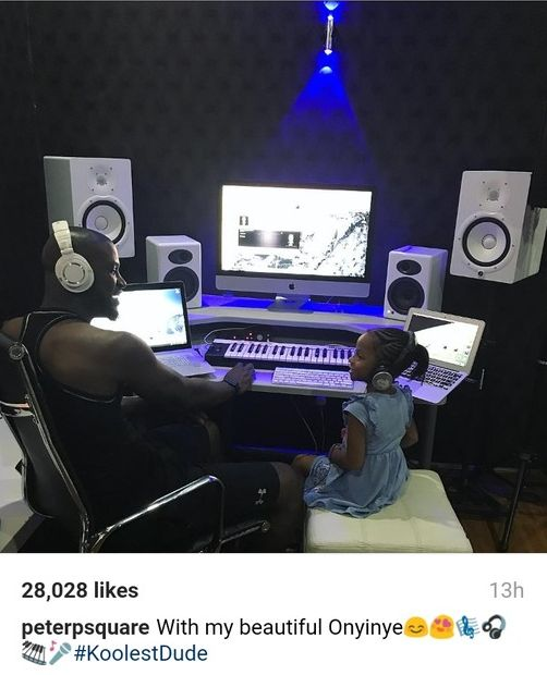 Beautiful Pic of Peter Okoye In Studio With His Daughter