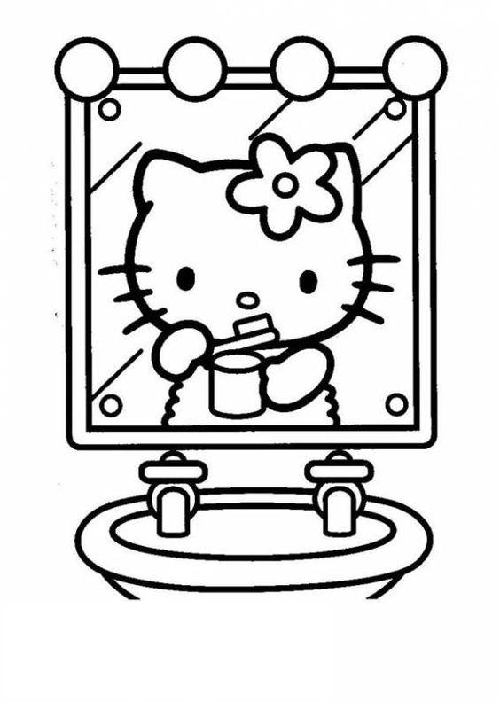 Tranh tô màu mèo hello kitty đánh răng