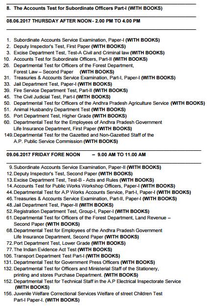 APPSC Departmental Exam Dates