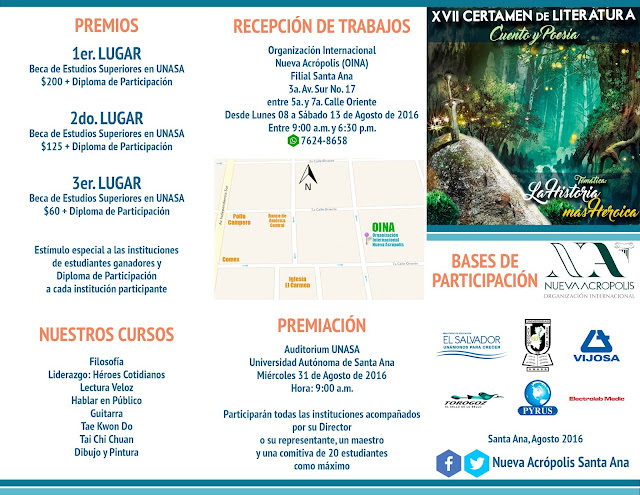 Bases de Participación Certamen de Literatura en Cuento y Poesía, Nueva Acrópolis Santa Ana, El Salvador