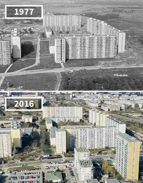 Antes y después ciudad de Poznań, Polonia