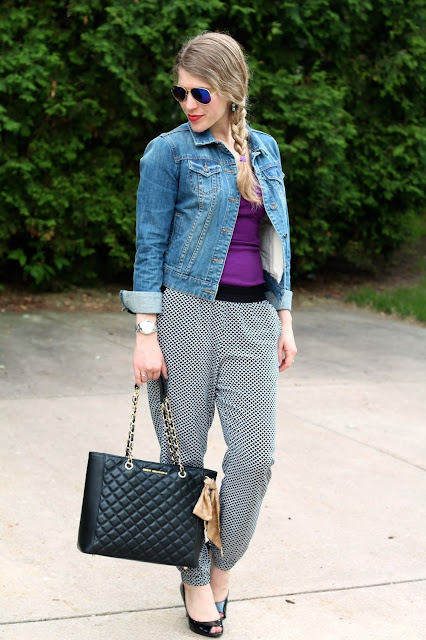 purple tank, denim jacket, black and white printed joggers, black heels