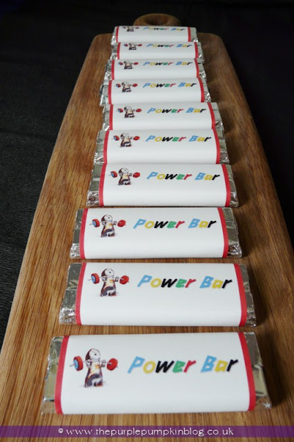 Power Bar Candy Wrappers for an Olympics Party at The Purple Pumpkin Blog