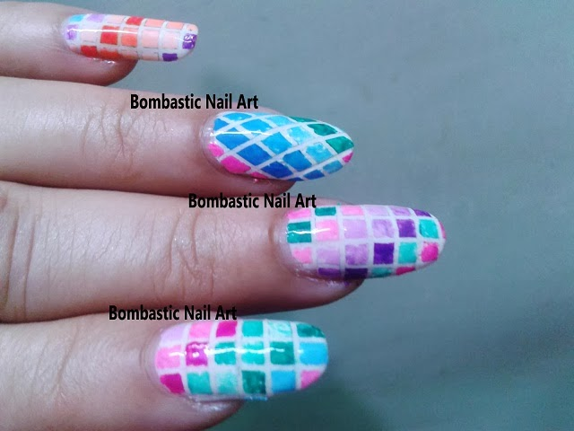 checkered nail art with striping tape