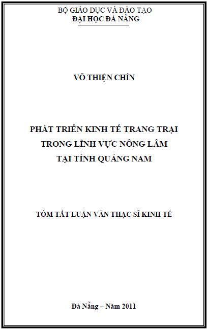 Phát triển kinh tế trang trại trong lĩnh vực nông lâm tại tỉnh Quảng Nam