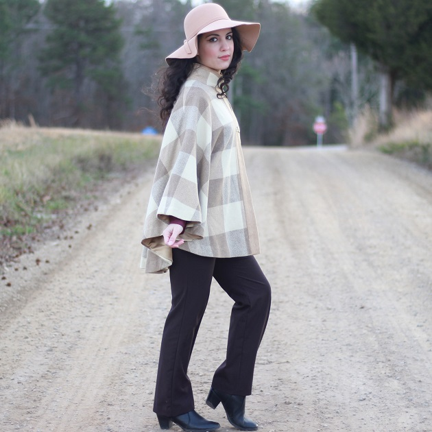 Neutral Plaid Cape