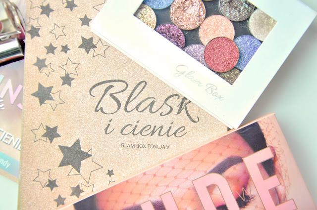 paletki cieni glamshop blask i cienie, huda beauty new nude, glamshop turbo pigmenty