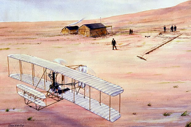 A PAINTING OF THE FAMOUS 1903 FLIGHT