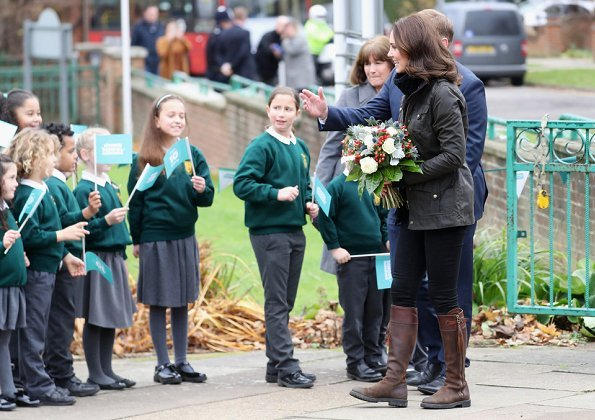 Kate Middleton wore Barbour Ladies Jacket, Temperley London Honeycomb Sweater, Penelope Chilvers Boots