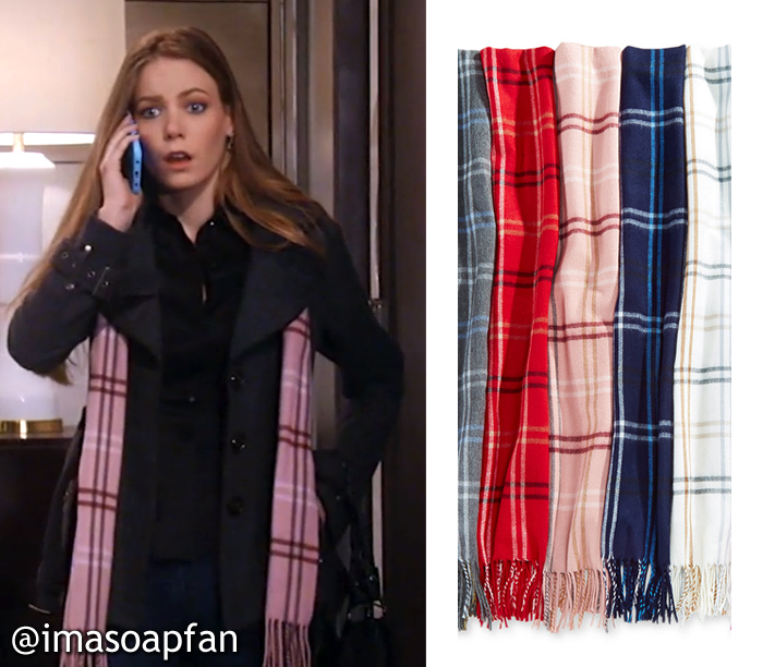 Nelle Hayes, Chloe Lanier, Pink Plaid Scarf, GH, General Hospital