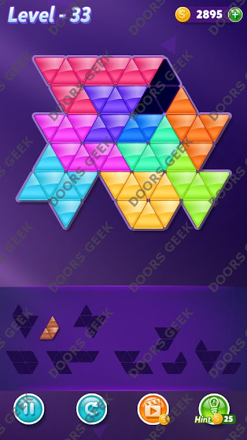 Block! Triangle Puzzle Master Level 33 Solution, Cheats, Walkthrough for Android, iPhone, iPad and iPod