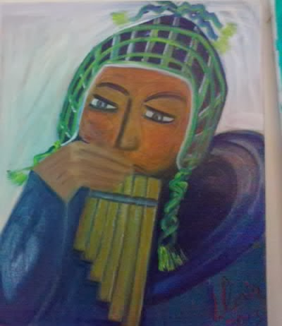 """Peruvian"" oil painting by Gloria Poole of Missouri ; for ethnic series;"