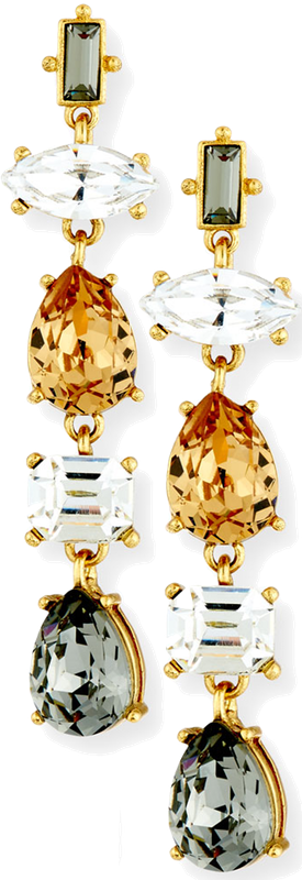 Sequin Five-Drop Crystal Earrings Gold