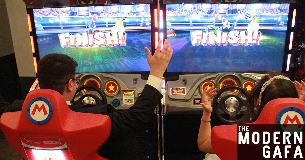 how to have a geeky wedding at an arcade with video game music mario kart