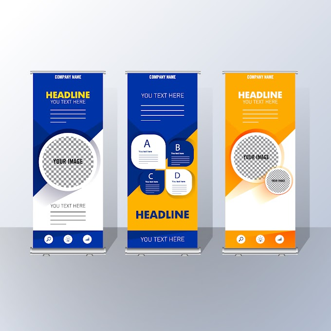 Corporate poster templates roll up shaped colorful modern Free vector