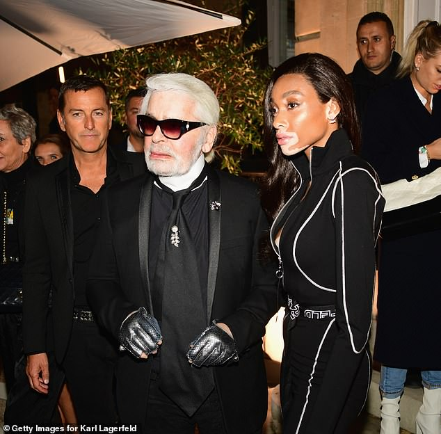 Winnie Harlow stuns as she shows off her model physique at Karl Lagerfeld bash in Paris