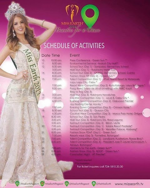 Schedule of Activities - Miss Earth 2014