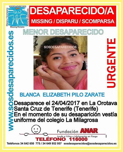 Menor desaparecida, La Orotava Tenerife, 24 abril