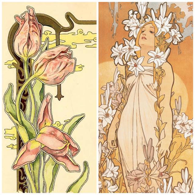Alphonse Mucha Art Nouveau flowers