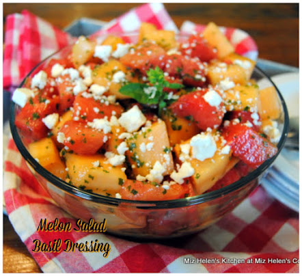 Melon Salad with Basil Dressing