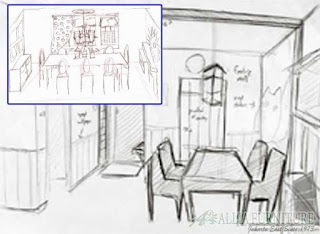sketsa tangan untuk ruang makan