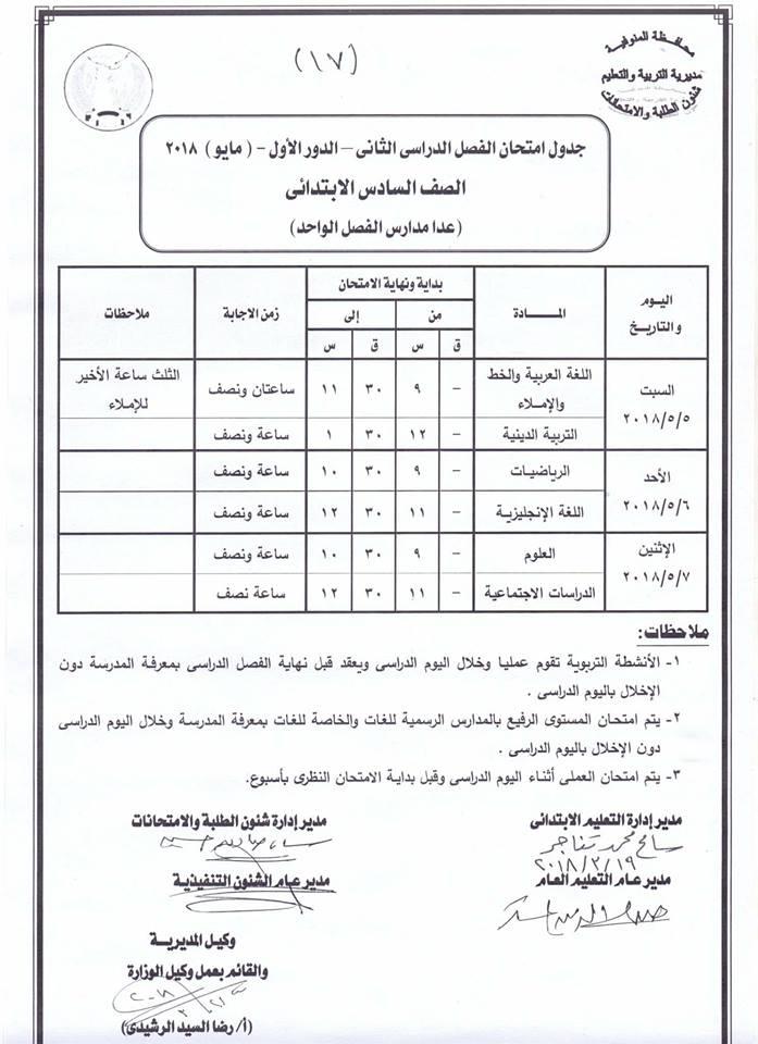 جدول امتحانات محافظة المنوفيه الترم الثانى اخر العام لجميع المراحل التعليمية،ابتدئى اعدادي، ثانوى 2018