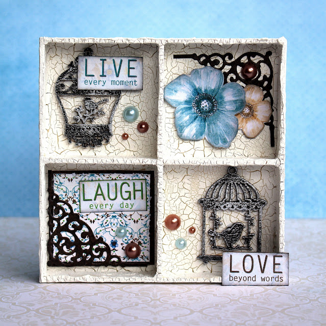 Crackle Paste Wood Box Alter by Ulrika Wandler using BoBunny Penelope Collection