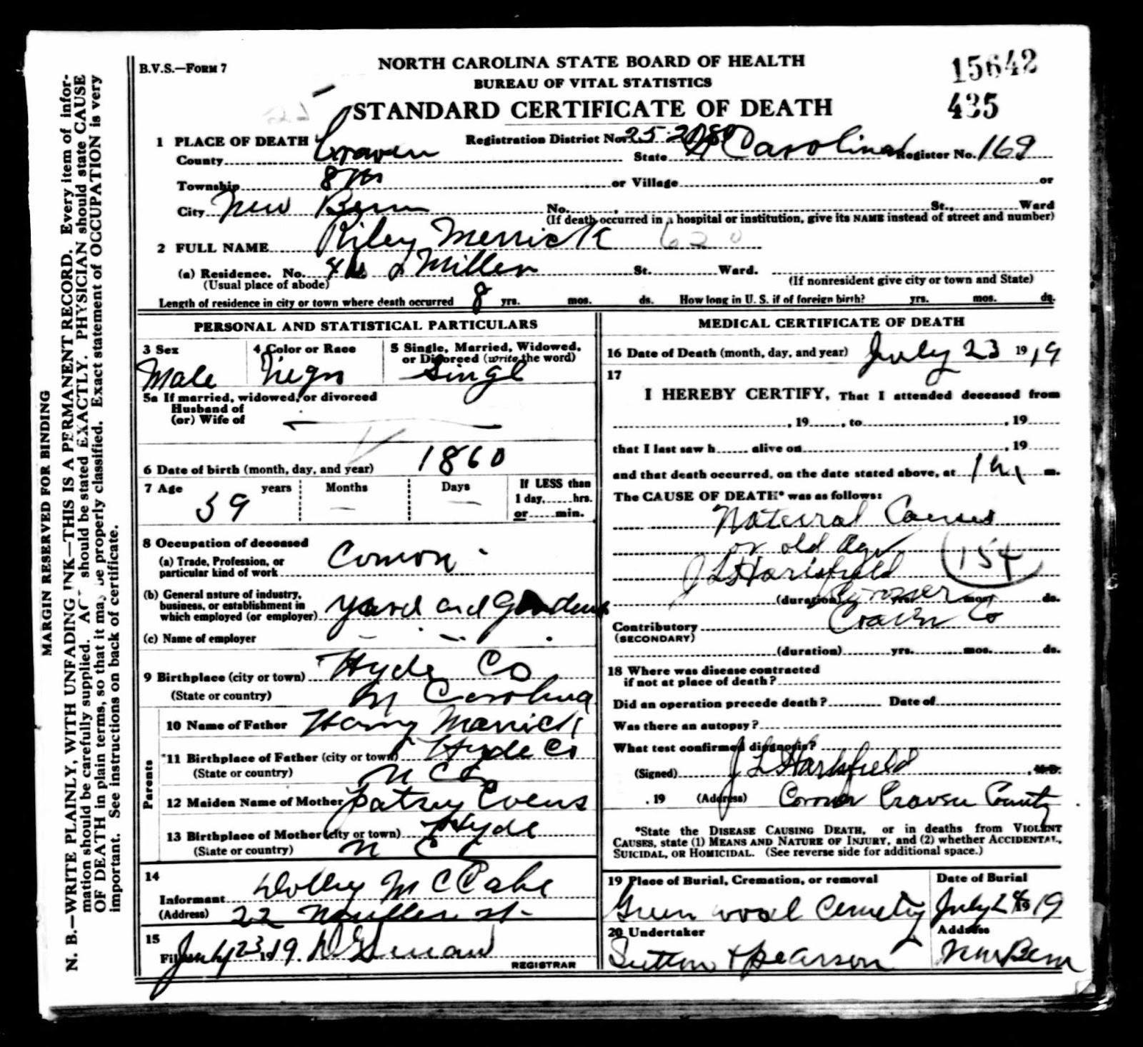 Riley merrick i thought you might be family original data north carolina state board of health bureau of vital statistics north carolina death certificates xflitez Gallery