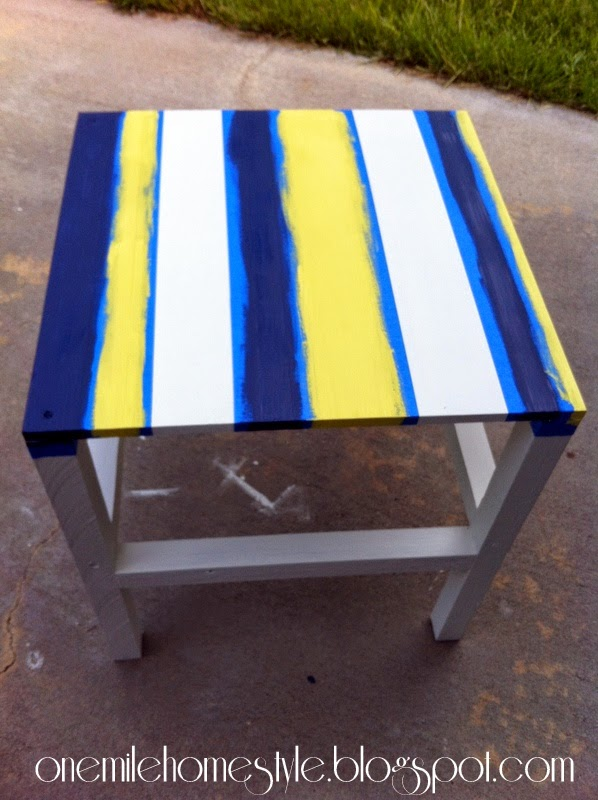 Painting Stripes on a Scrap Wood Outdoor Table