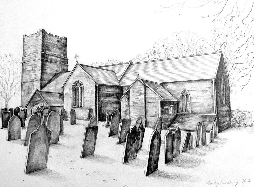 14-Clovelly-Church-in-Winter-Minty-Sainsbury-Architectural-Street-and-Building-Drawings-www-designstack-co