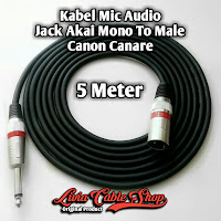 Kabel Mic Audio Jack Akai mono To Male Canon Canare 5 Meter